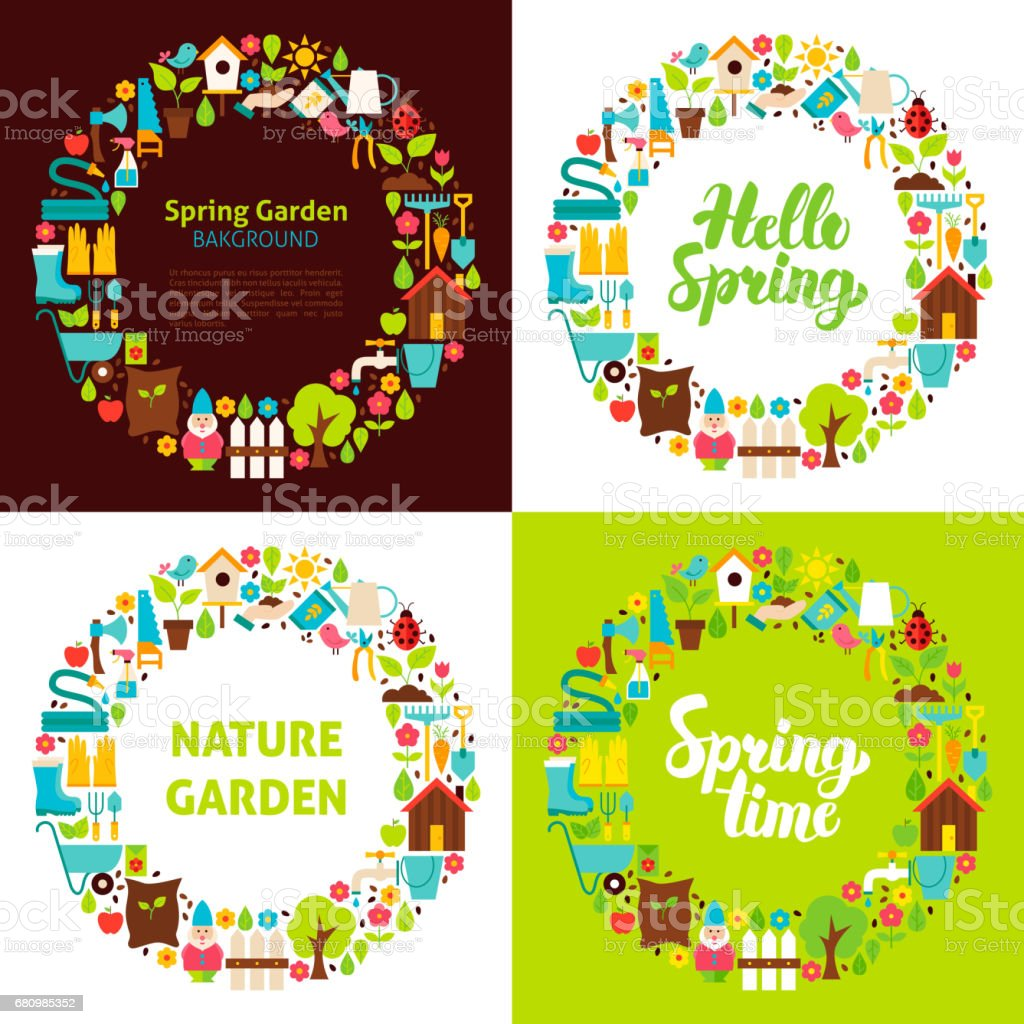 Spring Garden Flat Circles royalty-free spring garden flat circles stock vector art & more images of agriculture