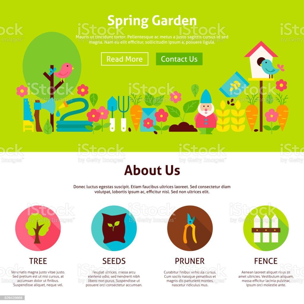 garden design template. Spring Garden Flat Web Design Template royalty free spring garden flat web design  template stock Stock Vector Art More