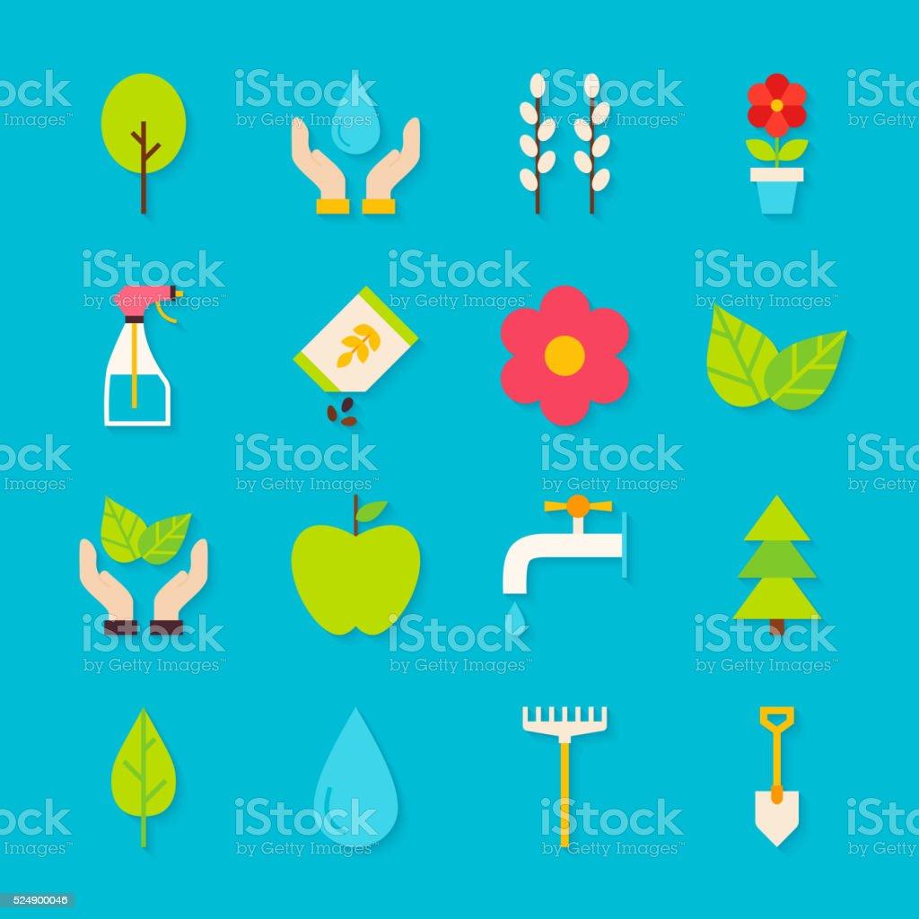 Resorte de jardiner a y objetos conjunto con sombra plana for Objetos de jardineria