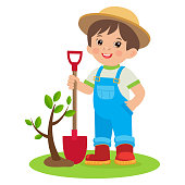 Spring Gardening. Growing Young Gardener. Cute Cartoon Boy With Shovel. Young Farmer Planting A Tree Colorful Simple Design Vector.