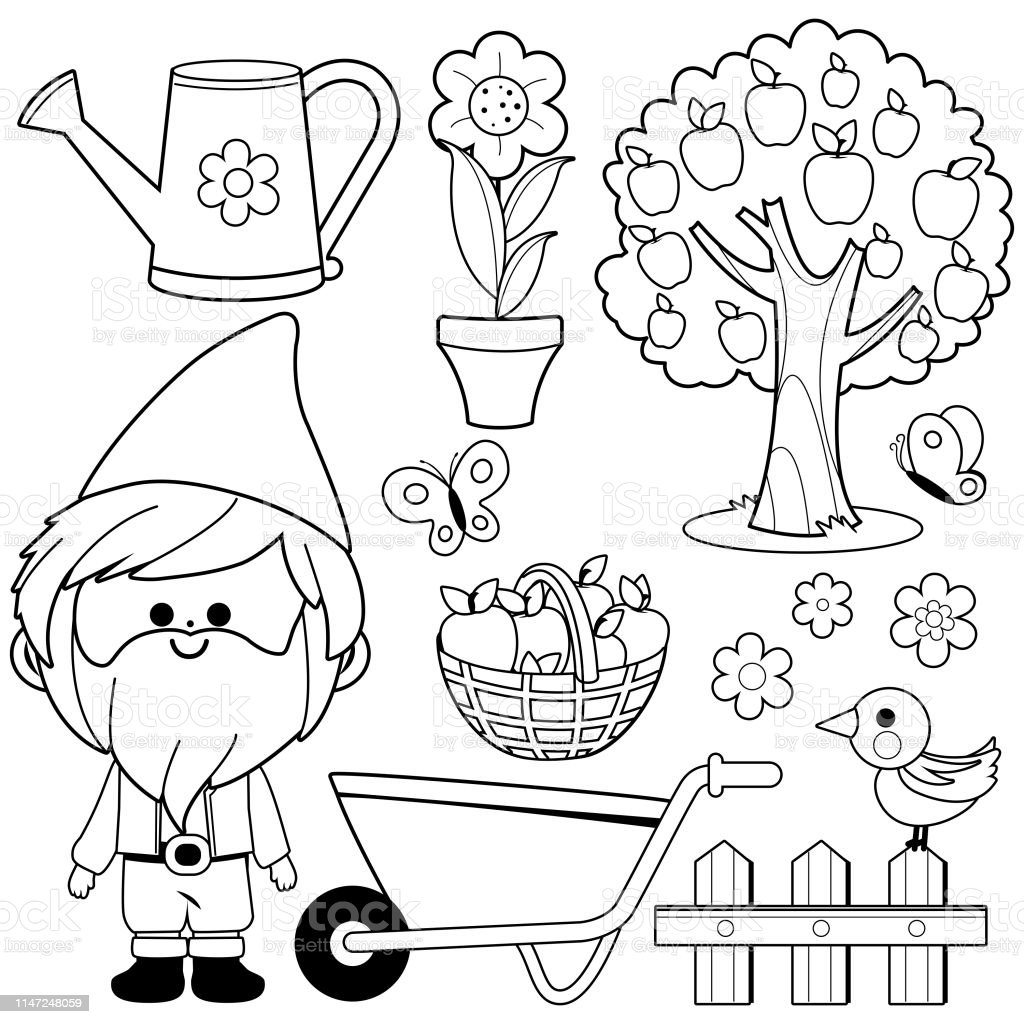 Spring Gardening Illustration Collection With Garden Gnome Vector Black And  White Coloring Book Page Stock Illustration - Download Image Now