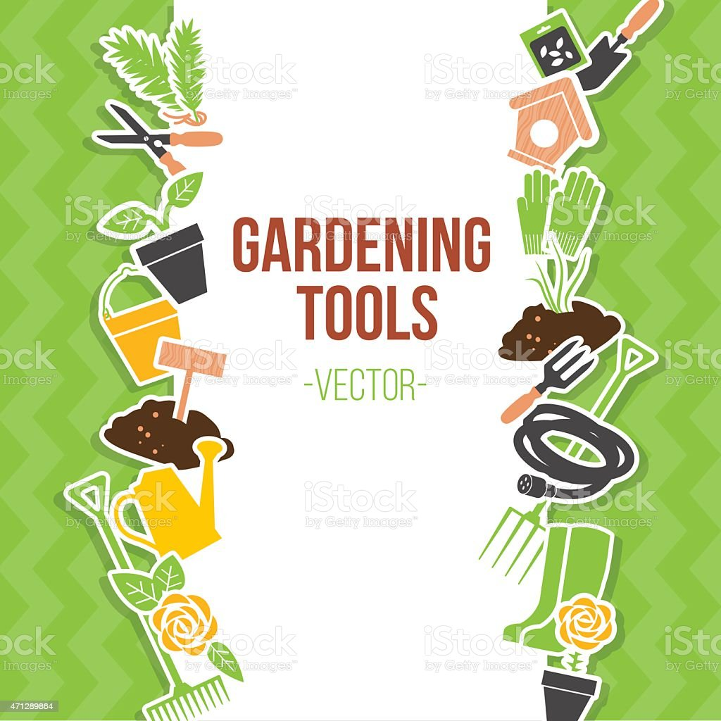 Conjunto de herramientas de jardinería, ilustración vectorial - ilustración de arte vectorial