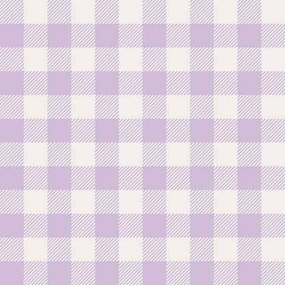 Spring gingham pattern in pastel purple. Seamless light check plaid graphic background vector for tablecloth, dress, gift wrapping, or other modern Easter holiday fashion textile print.