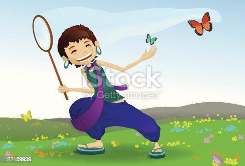 istock Spring Girl Chasing butterflies 122159939