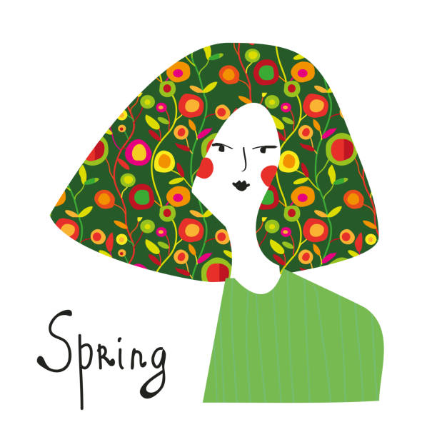 spring girl with floral hair fashion banner. - spring fashion stock illustrations, clip art, cartoons, & icons
