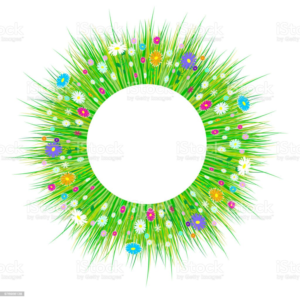 Spring Grass And Flowers Borders Easter Decoration With Spring Grass
