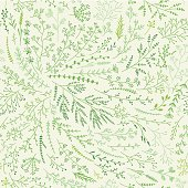 Seamless pattern of green spring brunches