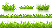 Spring grass seamless pattern and icons, 3d vector