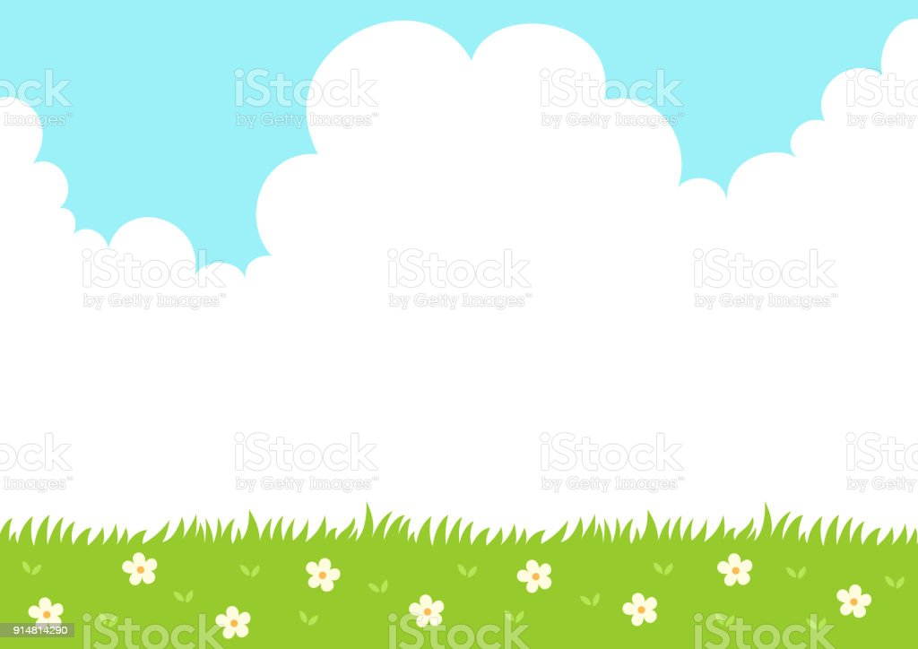 Spring grass with sky background vector art illustration