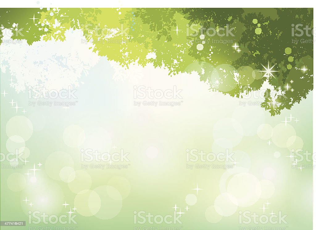 Spring Green background with soft sunlight vector art illustration