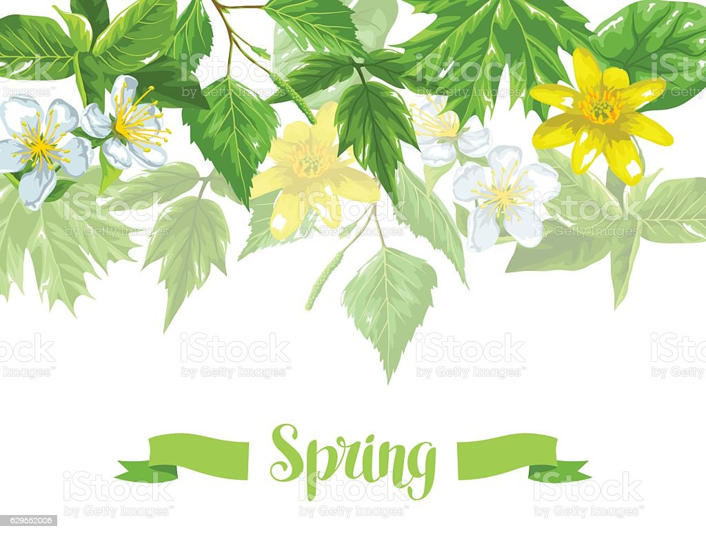 Spring Green Leaves And Flowers Background With Plants Twig Buds