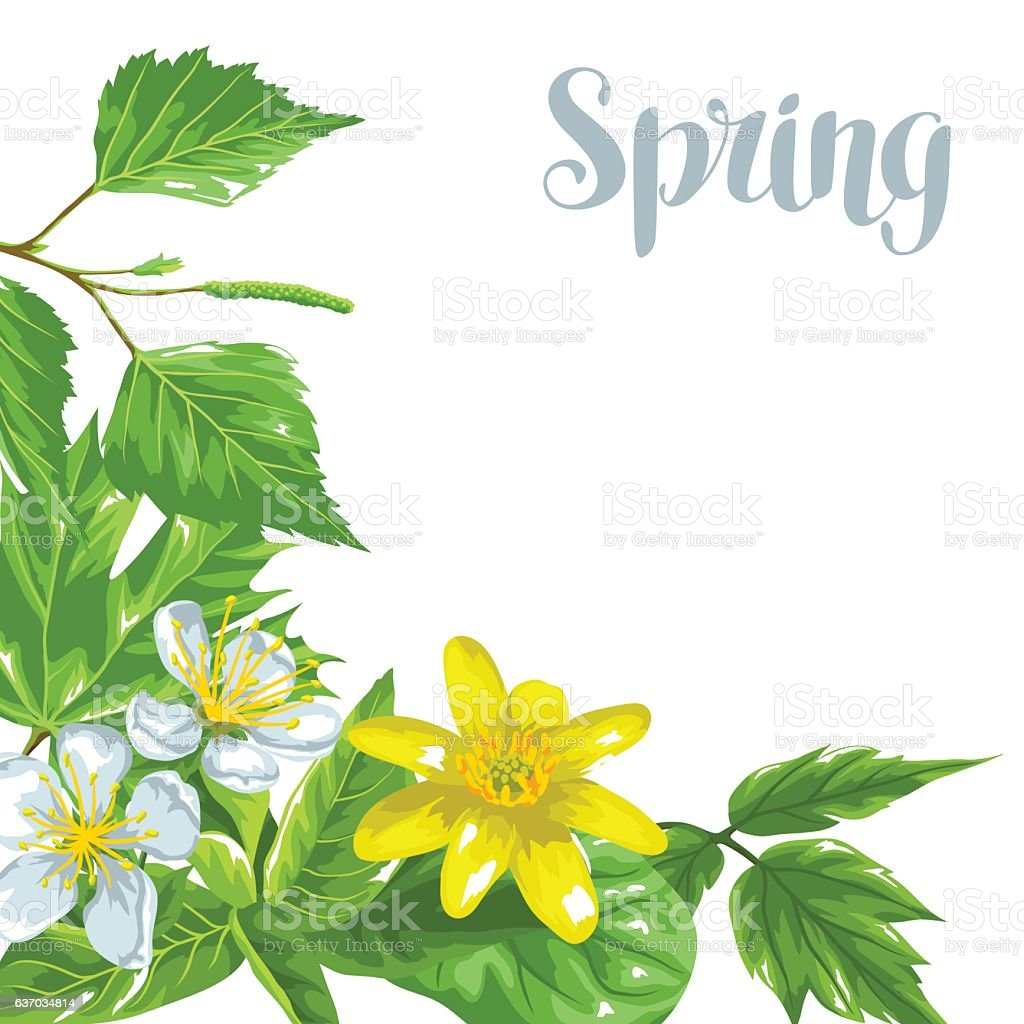 Spring Green Leaves And Flowers Background With Plants