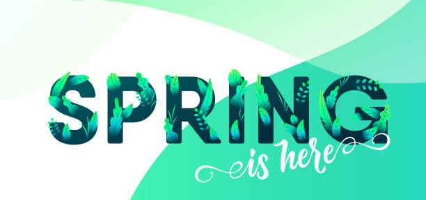 spring green letter with leaves vector background. floral springtime graphic design illustration for fashion poster, sale banner, greeting card, t-shirt, invitation - spring fashion stock illustrations, clip art, cartoons, & icons