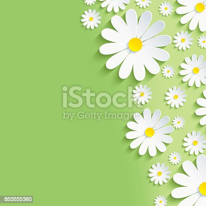 istock Spring green nature background with white chamomiles 853555360