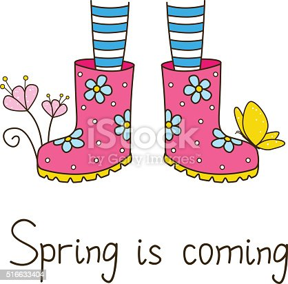 istock Spring greeting card with color rubber boots 516633404