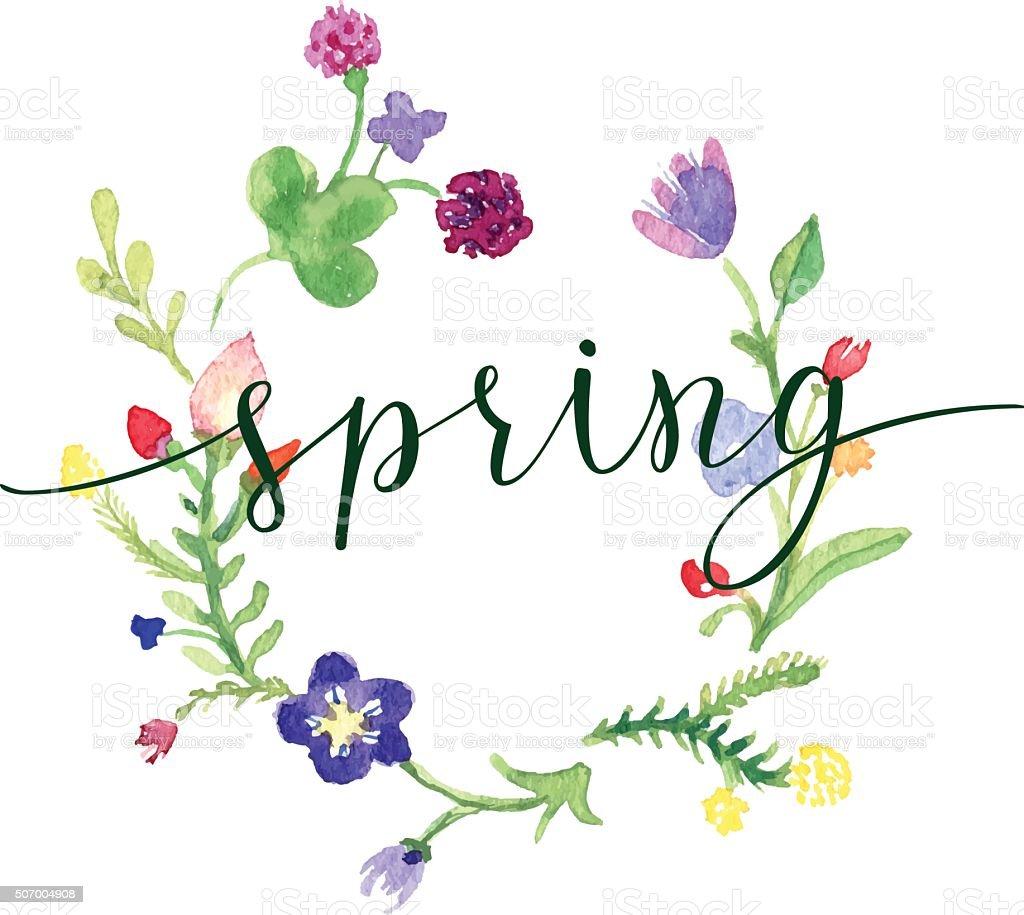 春のグリーティングカードの花とオリジナルの手書き文字
