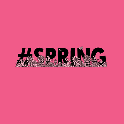 Spring Hand Drawn Doodle Vector On Pink Background Stock Illustration - Download Image Now