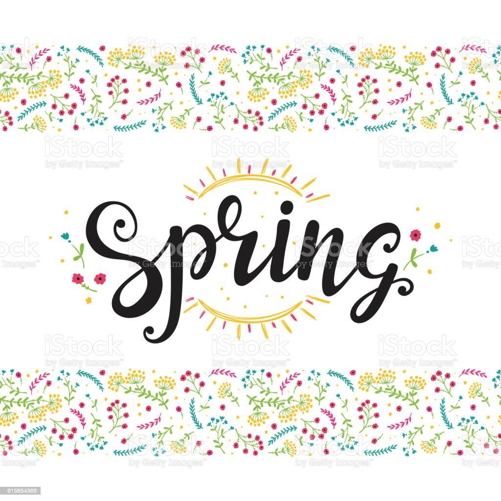 Handgezeichnete Schriftzug Poster Mit Blumen Und Sonne Im Frühjahr ...