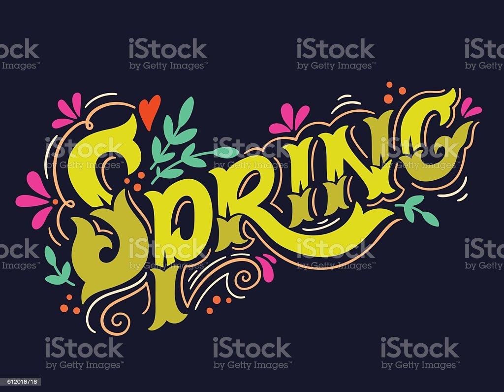 Spring. Hand drawn vintage lettering with floral decoration elem vector art illustration
