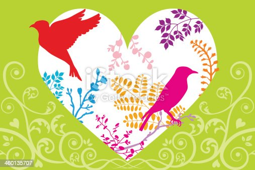 Vector illustration of spring image,birds and plants silhouette. Files included: EPS 8, AI CS2,  and large JPG.