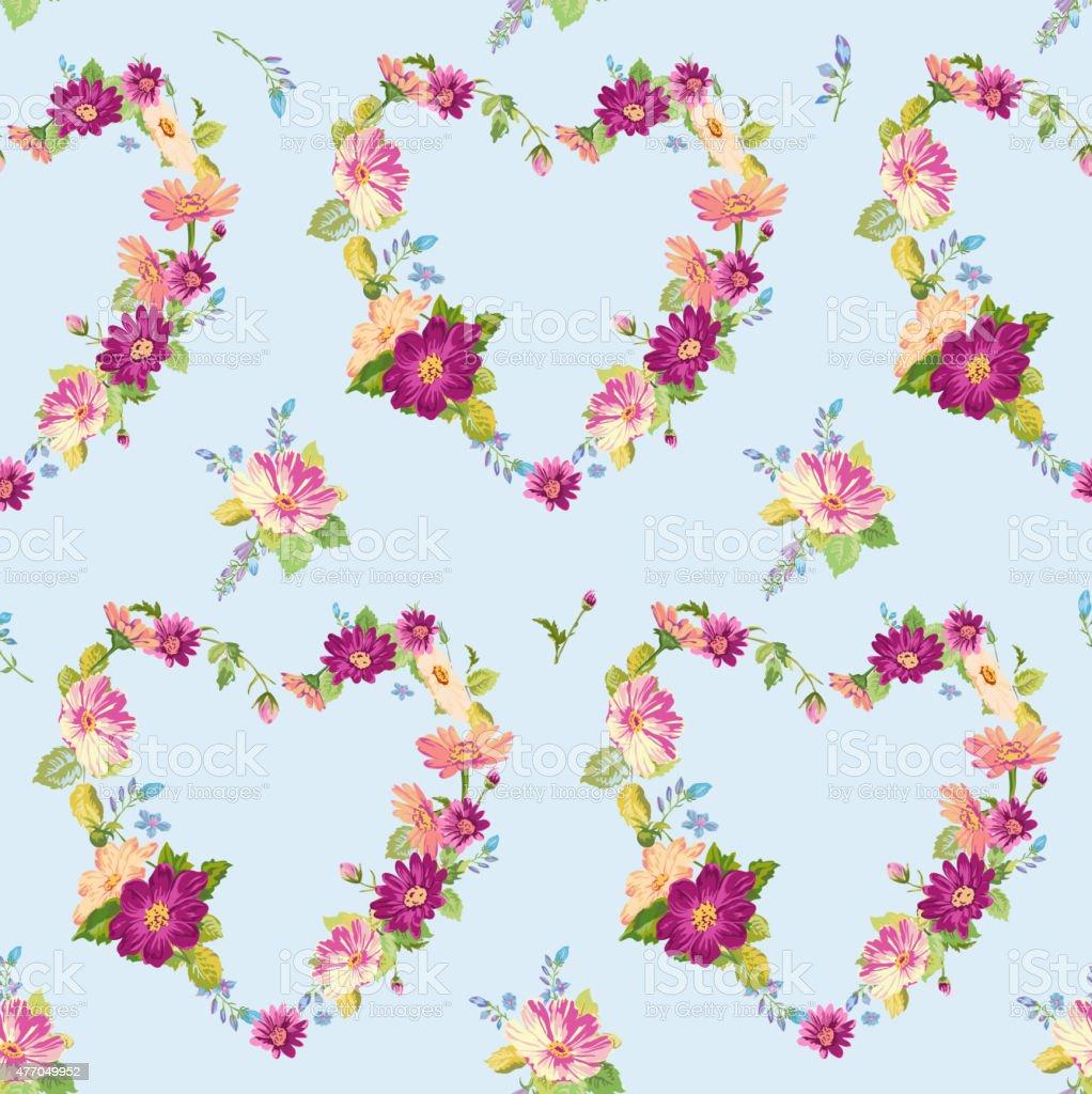 Primavera Fiori E Cuori Floreale Senza Soluzione Di Continuità