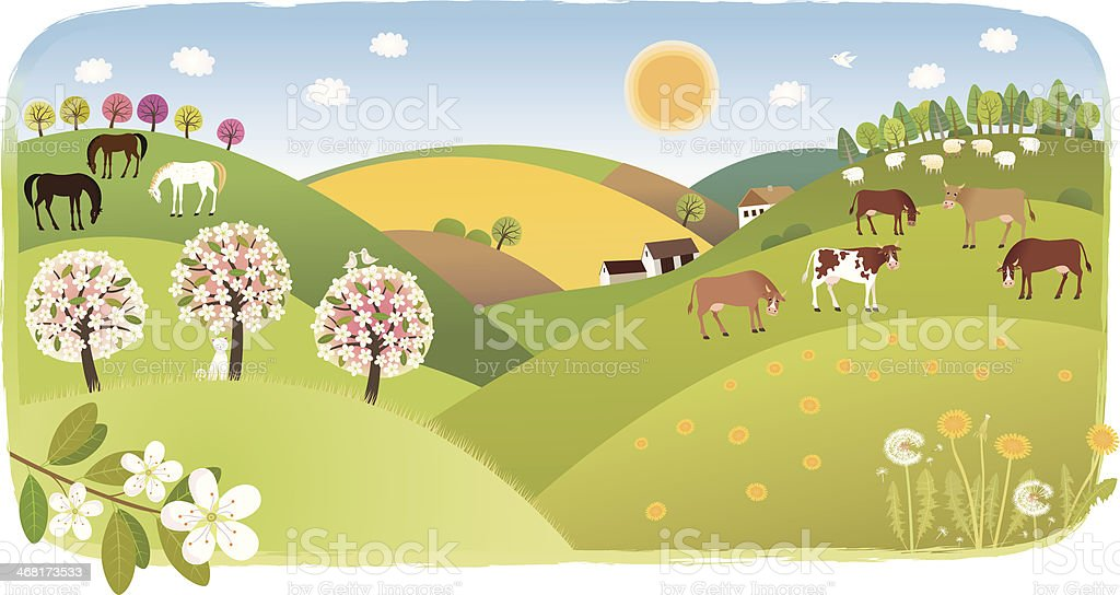 Spring highland royalty-free stock vector art