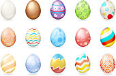 Spring holiday colorful painted easter 3d chocolate eggs icons isolated set vector illustration