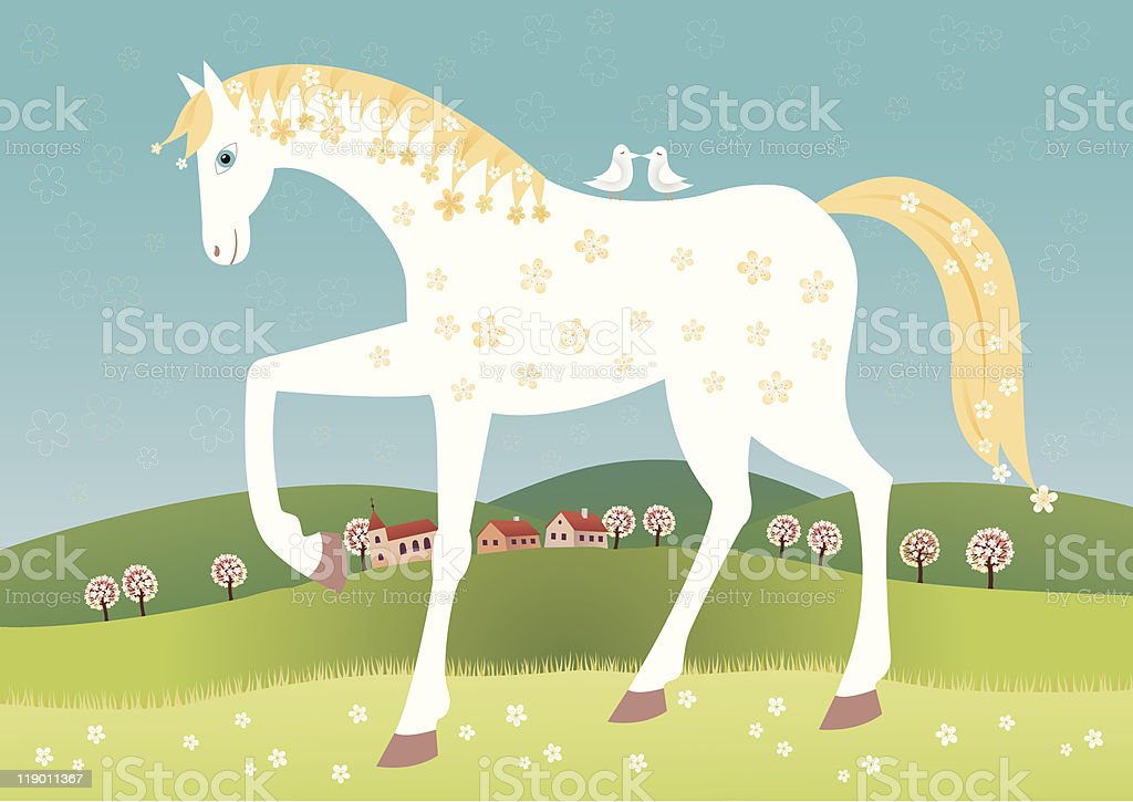 Spring horse royalty-free spring horse stock vector art & more images of bird