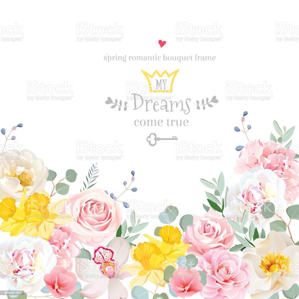 Lente hortensia, roos, peony, orchidee, narcissen vector design cavectorkunst illustratie