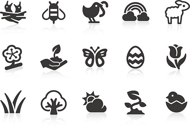 Spring icons Monochromatic spring related vector icons for your design and application. Raw style. Files included: vector EPS, JPG, PNG. bee clipart stock illustrations