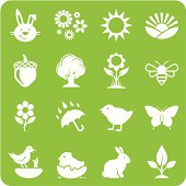 Cartoon isolated pink eggs and chicken in square of twigs. Vector illustration. Web icons and mobile app design