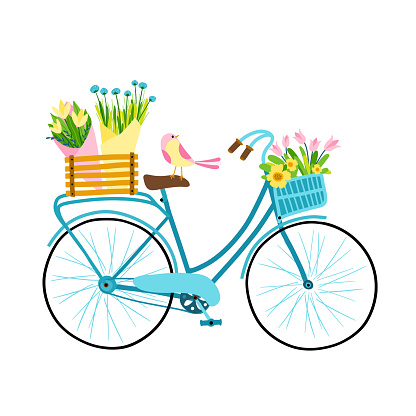 Spring illustration. Cute female bicycle with flowers, basket, box and bouquet. Small bird. Fresh colorful palette hand drawn cartoon style.