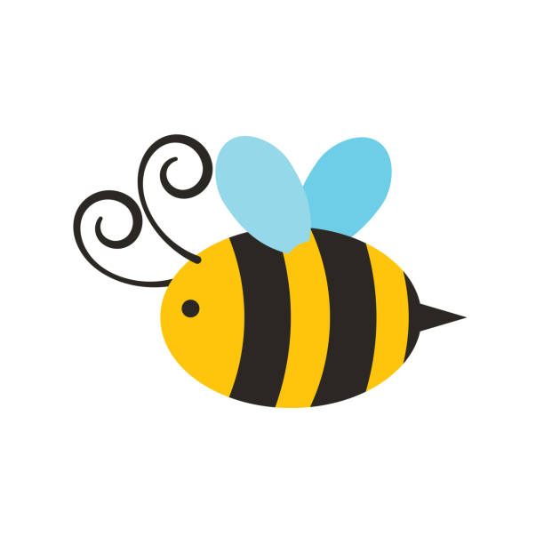 Spring Image bee icon over white background. colorful design. vector illustration bee clipart stock illustrations