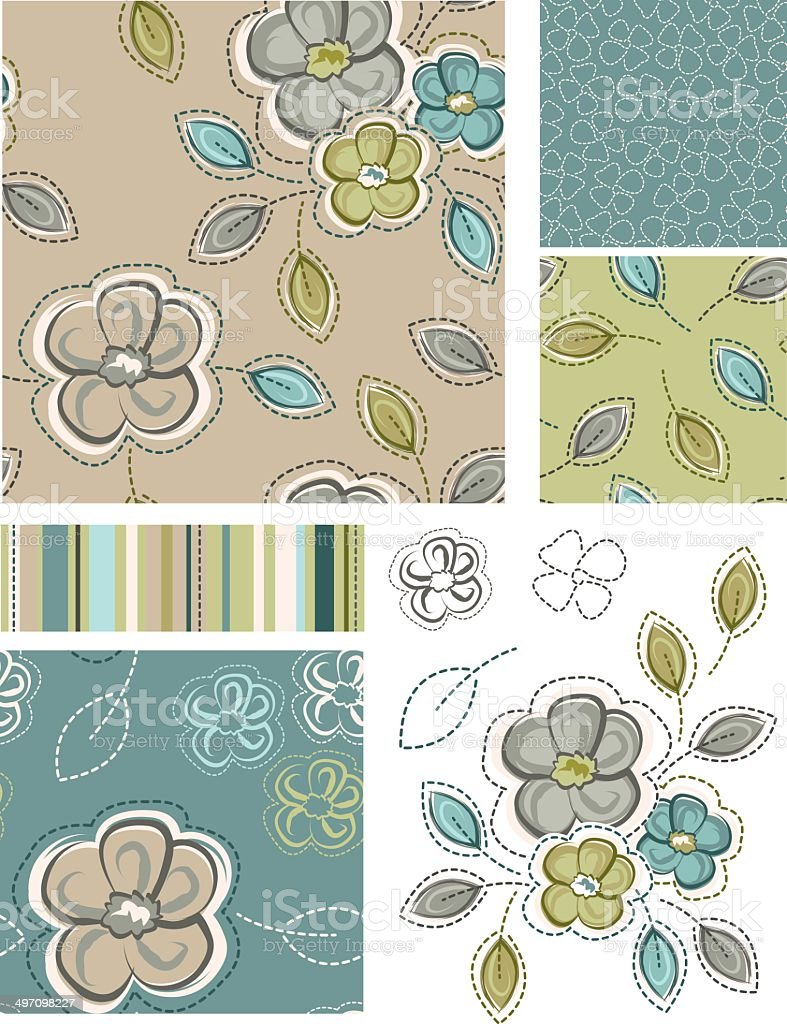 Spring Inspired Seamless Floral Patterns and Icons. vector art illustration
