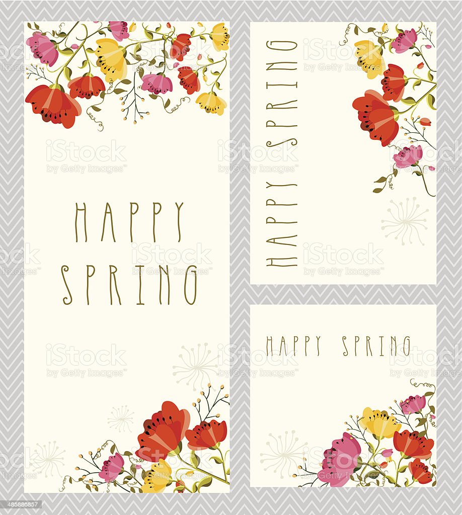 Spring invitation card set stock vector art 485886857 istock spring invitation card set royalty free stock vector art stopboris Image collections