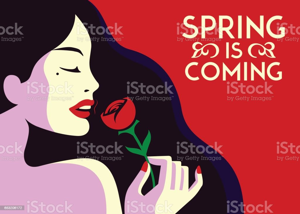 Spring is coming pretty glamorous fashion woman smelling rose flower minimal flat design vector illustration vector art illustration