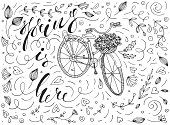 vector spring is here vector illustration with a vintage bicycle, basket full of flowers, calligraphy lettering and funky doodles. black and white vector typography poster in ink linear line art design. vintage illustration for t-shirt prints, greeting cards, postcards, posters, blogs etc.