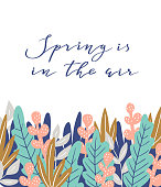 Spring is in the air- hand drawn inspiration quote. Vector botanical design. Spring quote poster.