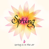 The greeting card for the coming of the spring with flower on the background