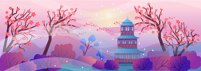 Spring Japanese landscape in cartoon style. Beautiful landscape with cherry blossoms, mountains, pagoda. Vector illustration in a flat style for design, horizontal composition. Asian Temple, Mountains