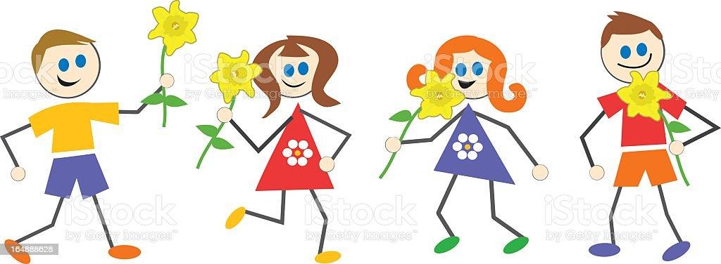 spring kids royalty-free stock vector art