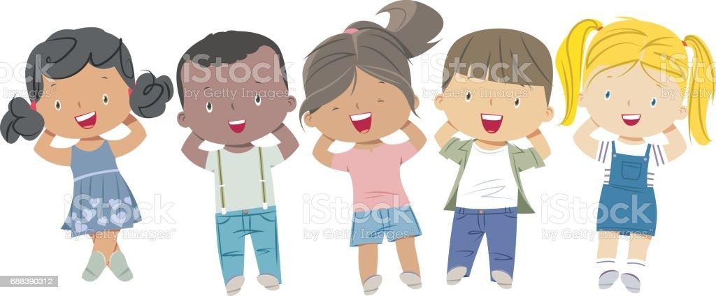 spring kids vector art illustration