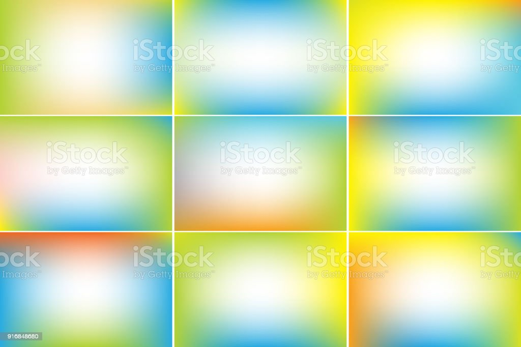 Spring landscape banners. Gradient vector backgrounds collection vector art illustration