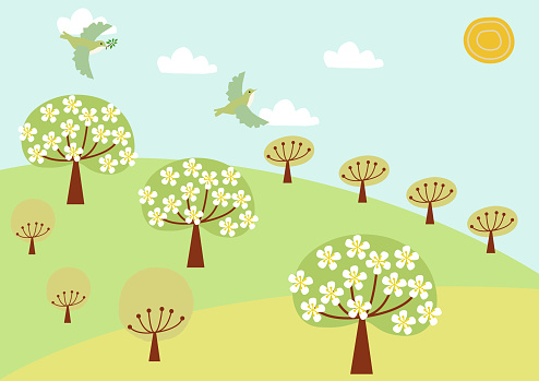 Spring landscape clip art. Image of birds and spring grassland.Illustration of Mountain of Spring. Illustrations of the four seasons.