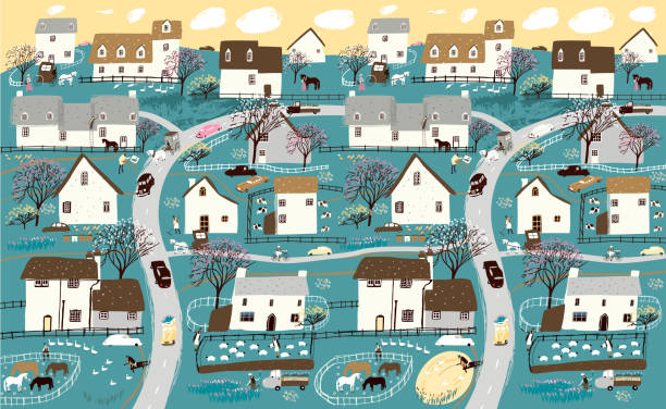 Spring landscape, garden and farming. Vector illustration of nature, village, houses, trees, people and domestic animals. Drawing of a village and city for background, poster or banner. vector art illustration