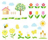 Spring landscape illustration set