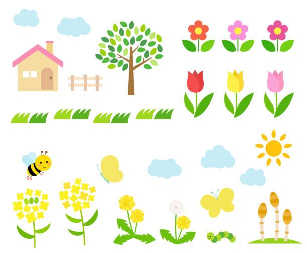 春の風景のイラスト セット - 草原点のイラスト素材/クリップアート素材/マンガ素材/アイコン素材