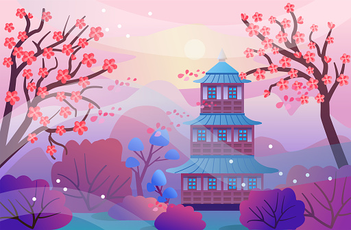 Spring landscape in cartoon style. Beautiful landscape with blooming sakura trees, mountains, pagoda. Vector illustration in a flat style for design, banners, book. Asian temple and mountains