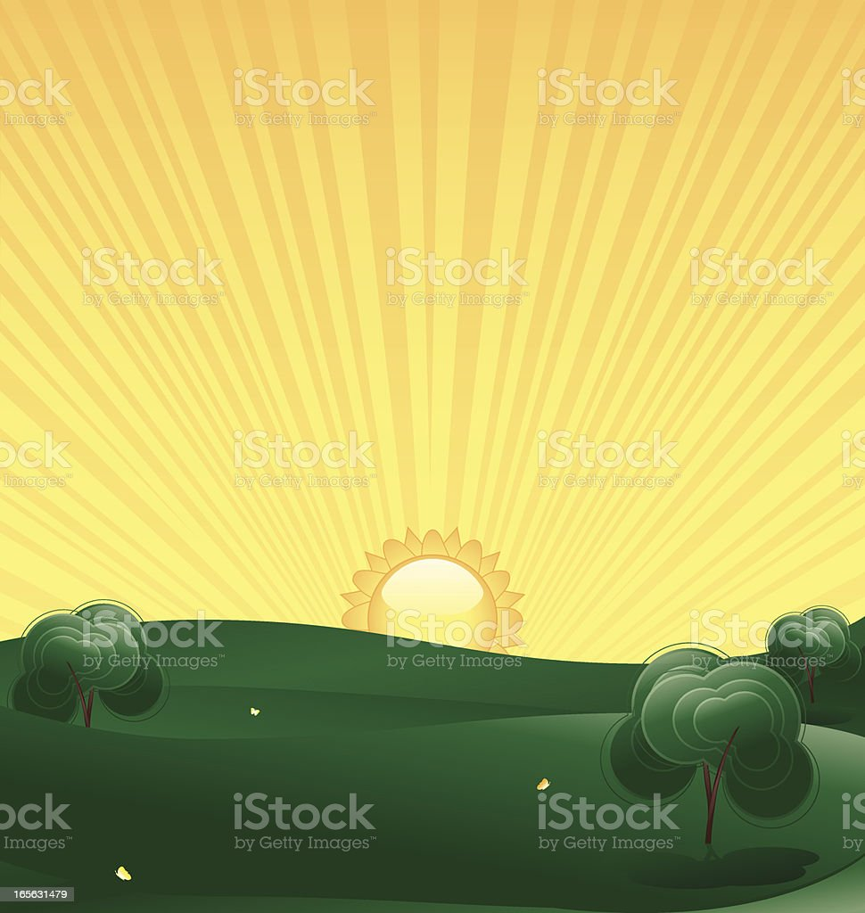 Spring Landscape, Trees with Sun royalty-free stock vector art