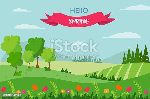 istock Spring landscape with a bench, with mountains, trees, fields and nature. The inscription hello spring . Cute flat-style illustration 1308481299